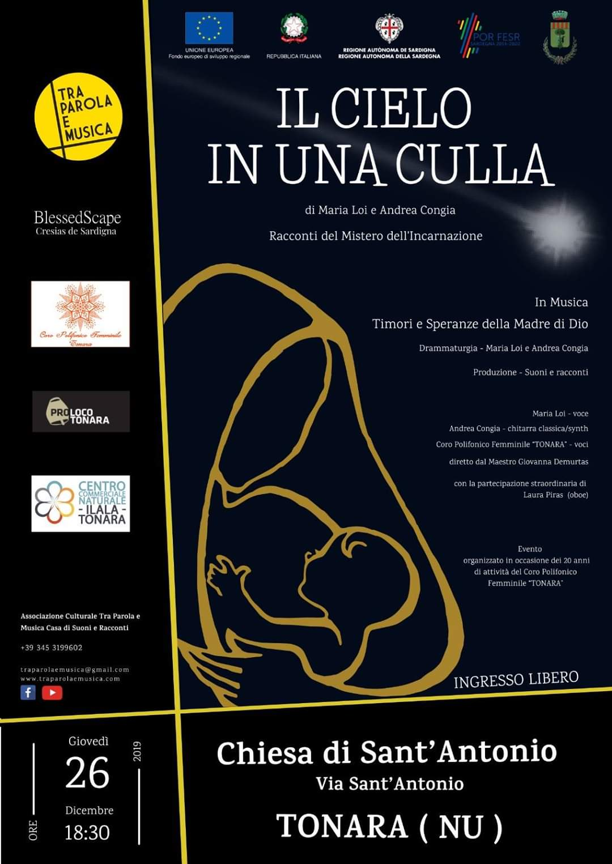 Il cielo in una culla - chiesa Sant'Antonio - Tonara - tra parole e musica - evento - 2019 - sa scena sarda