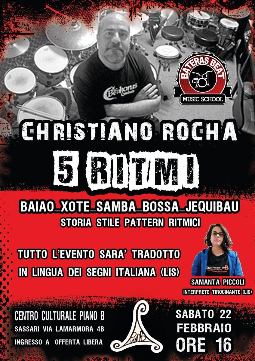 Christiano Rocha - 5 Ritmi - Piano B - Sassari - evento sottotitolato in LIS - corso - 22 febbraio 2020 - eventi - 2020 - Sa Scena Sarda