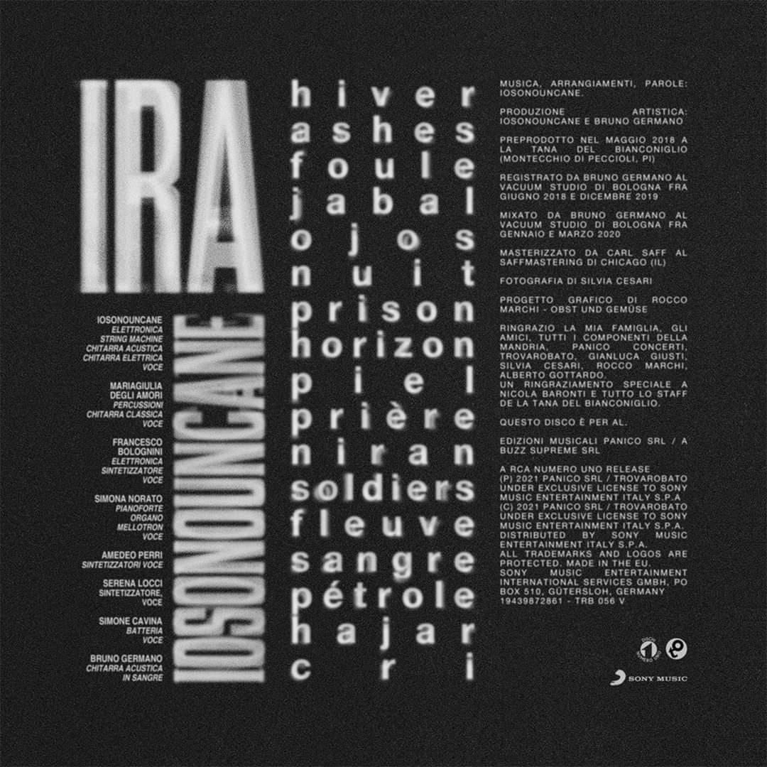 IOSONOUNCANE - IRA - Trovarobato - Dischi Numero Uno - tracklist - news - 2021 - Sa Scena - 14 aprile 2021